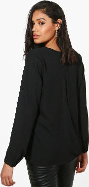 Boohoo , Open Back Woven Blouse - Black