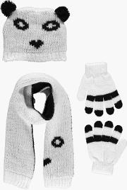 Boohoo , Panda Hat Scarf & Gloves Set - Multi