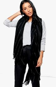 Boohoo , Pinstripe Supersoft Blanket Scarf - Black