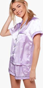 Boohoo , Pj Short Set With Contrast Piping - Lilac