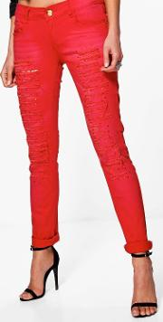 Boohoo , Red Embellished Jeans - Red