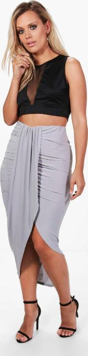 Boohoo , Renee Ruched Wrap Front Maxi Skirt - Grey