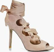 Boohoo , Ribbon Lace Up Peeptoe Courts - Nude