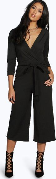 Boohoo , Roll Sleeve Relaxed Culotte Jumpsuit Black