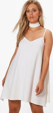 Boohoo , Rosie Crepe Choker Cami Dress - White