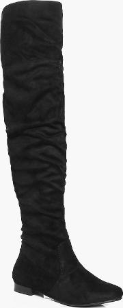 Boohoo , Rouch Detail Over The Knee Boot - Black