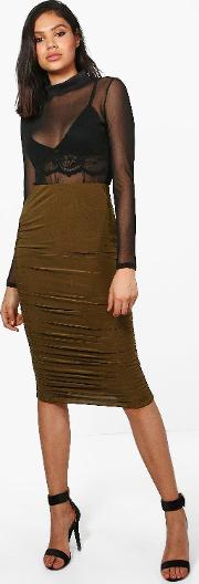 Boohoo , Rouched Side Slinky Midi Skirt - Khaki