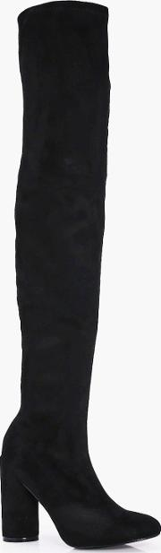 Boohoo , Round Heel Over The Knee Boot - Black