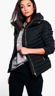Boohoo , Seray Padded Coat - Black