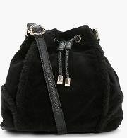 Boohoo , Shearling Trim Duffle Bag Black