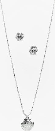 Boohoo , Shell Pendant Necklace And Earring Set - Silver