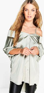 Boohoo , Silky Shoulder Strappy Blouse - Silver