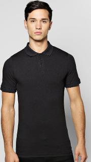 Boohoo , Sleeve Extreme Muscle Fit Polo Black