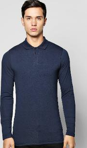 Boohoo , Sleeve Extreme Muscle Fit Polo Navy