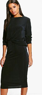 Boohoo , Slinky Sweat Top & Midi Skirt Co-ord - Black
