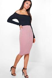 Boohoo , Soft Touch Rib Midi Skirt - Rose
