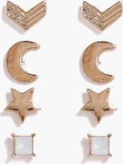 Boohoo , Star And Moon Mixed Studs 4 Pack Earrings - Gold