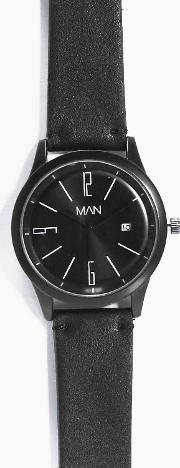 Boohoo , Strap Man Watch With Date Window - Black