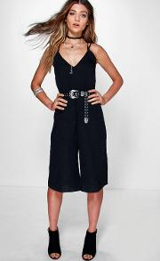 Boohoo , Strappy Cami Style Culotte Jumpsuit Black