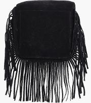 Boohoo , Suedette Fringed Cross Body Bag - Black