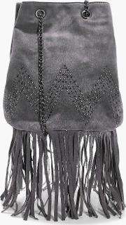 Boohoo , Suedette Fringed Duffle Cross Body Bag - Grey