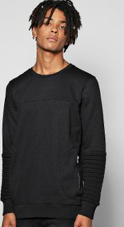 Boohoo , Sweatshirt With Zip Pockets - Black
