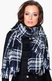 Boohoo , Tartan Check Metallic Detail Scarf - Navy