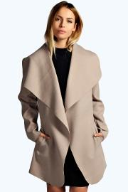 Boohoo , Waterfall Coat Stone