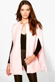Boohoo , Wool Look Cape Coat Pink