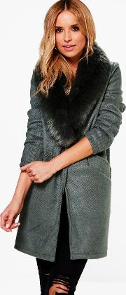 Boohoo , Wool Look Faux Fur Collar Coat - Khaki
