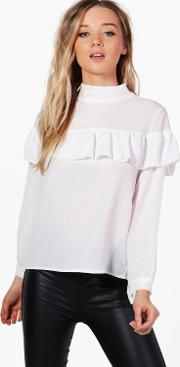 Boohoo , Woven Ruffle Front Blouse - Ivory
