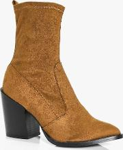 Boohoo , Block Heel Pointed Sock Boot Tan