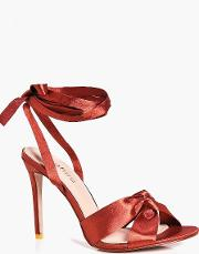 Boohoo , Knot Front Wrap Strap Sandal - Rust
