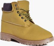 Boohoo , Lined Worker Boots Camel