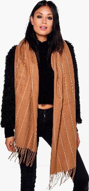 Boohoo , Pinstripe Supersoft Blanket Scarf - Camel