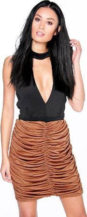 Boohoo , Rouched Front Mini Skirt Camel