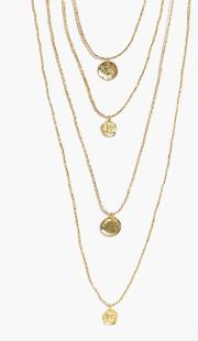 Boohoo , 4 Layer Coin Charm Necklace - Gold