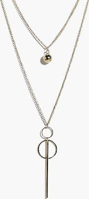 Boohoo , Ball And Chain Layered Necklace - Gold