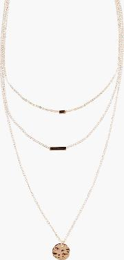 Boohoo , Coin Layered Skinny Necklace Gold