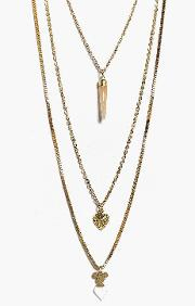 Boohoo , Horn Layered Necklace - Gold