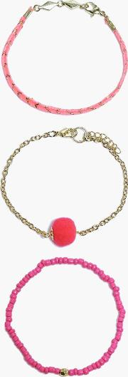 Boohoo , Pom Pom Mixed Style Bracelet 3 Pack - Gold