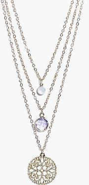 Boohoo , Stone And Filigree Round Layered Necklace - Gold