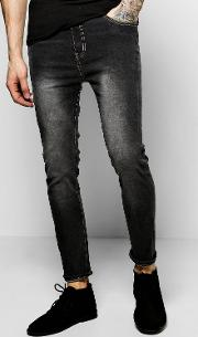 Boohoo , Fit Charcoal Jeans With Blasting - Charcoal