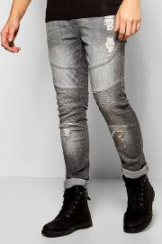 Boohoo , Fit Stretch Biker Jeans With Abrasions - Grey