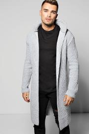 Boohoo , Heavy Knitted Cardigan With Pocket Grey