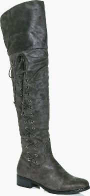 Boohoo , Lace Side Over The Knee Boot - Grey