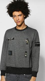Boohoo , Ma1 Zip Sweatshirt - Charcoal
