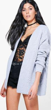 Boohoo , Oversized Rib Cardigan - Grey