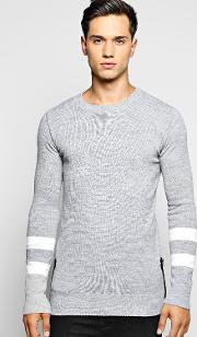 Boohoo , Striped Sleeved Jumper With Side Zips Grey