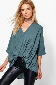 Boohoo , Wrap Front 34 Sleeve Blouse Grey